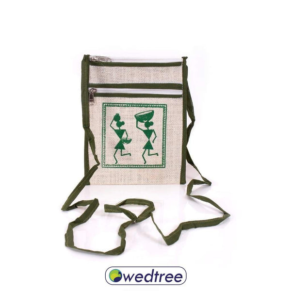 Jute Sling Bag With Warli Design Bags