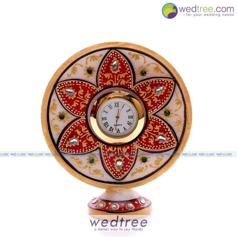 Marble Flower Design Stand Clock Utility Return Gifts