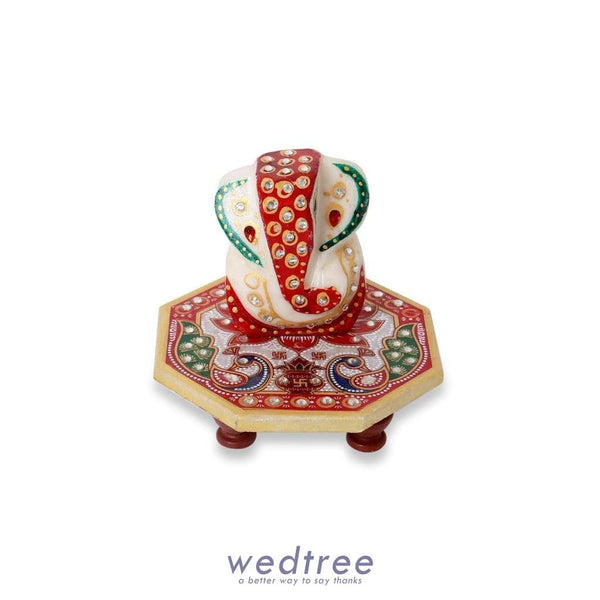 Marble - Hexagon Shaped Chowki With Peacock Design And Ganesh 4 Inch Divine Return Gifts
