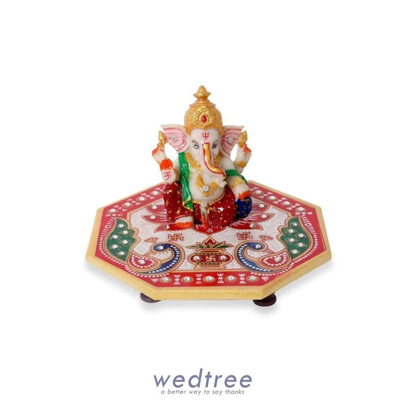 Marble - Hexagon Shaped Chowki With Peacock Design And Ganesh 6 Inch Divine Return Gifts