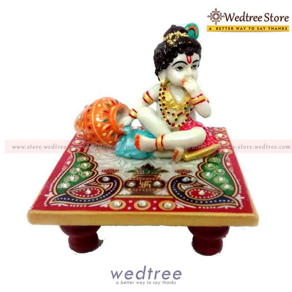 Marble Krishna On Chowki With Peacock Design - W0620 Divine Return Gifts