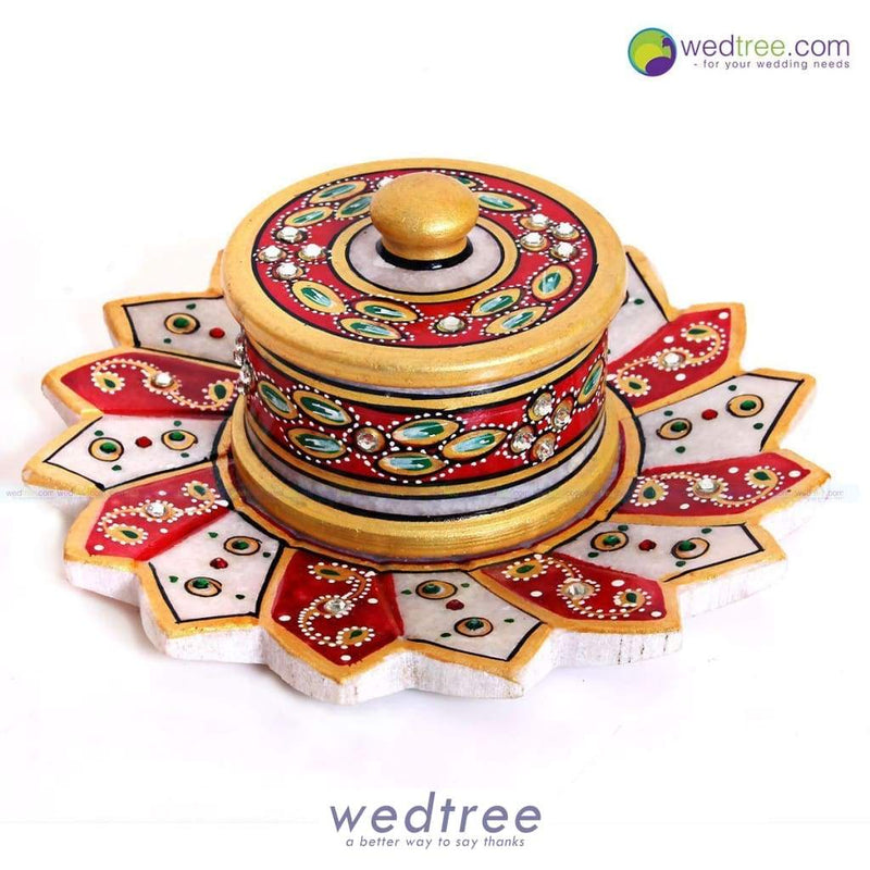 Marble Lotus Kumkum Holder - W1695 Pooja Utilities