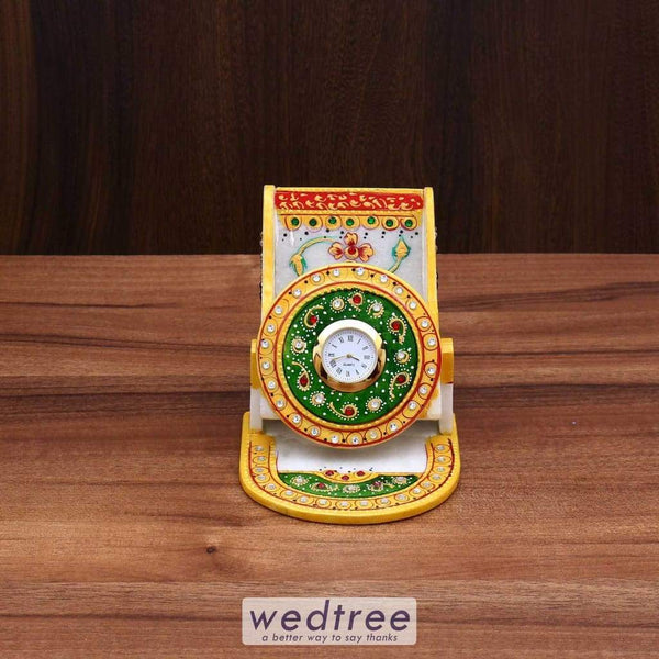 Marble Mobile Holder With Clock Utility Return Gifts