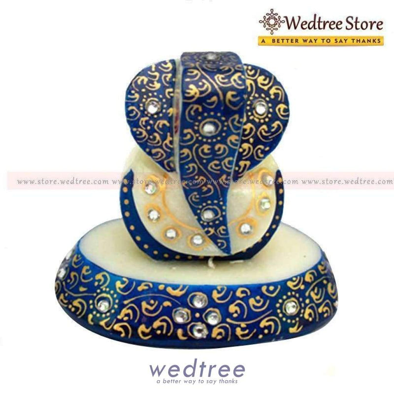 Marble Oval Ganesh Blue Divine Return Gifts