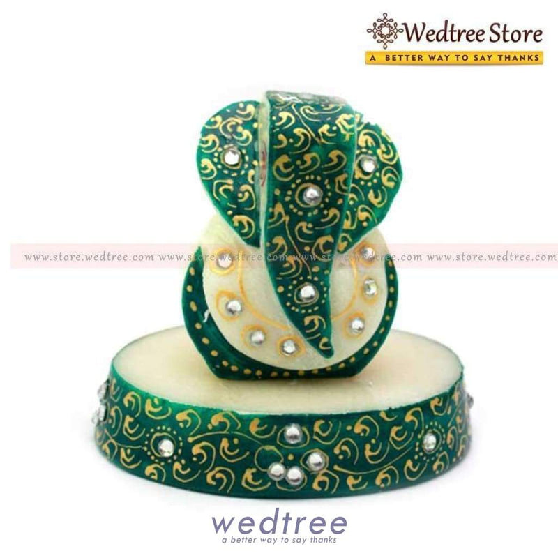 Marble Oval Ganesh Green Divine Return Gifts
