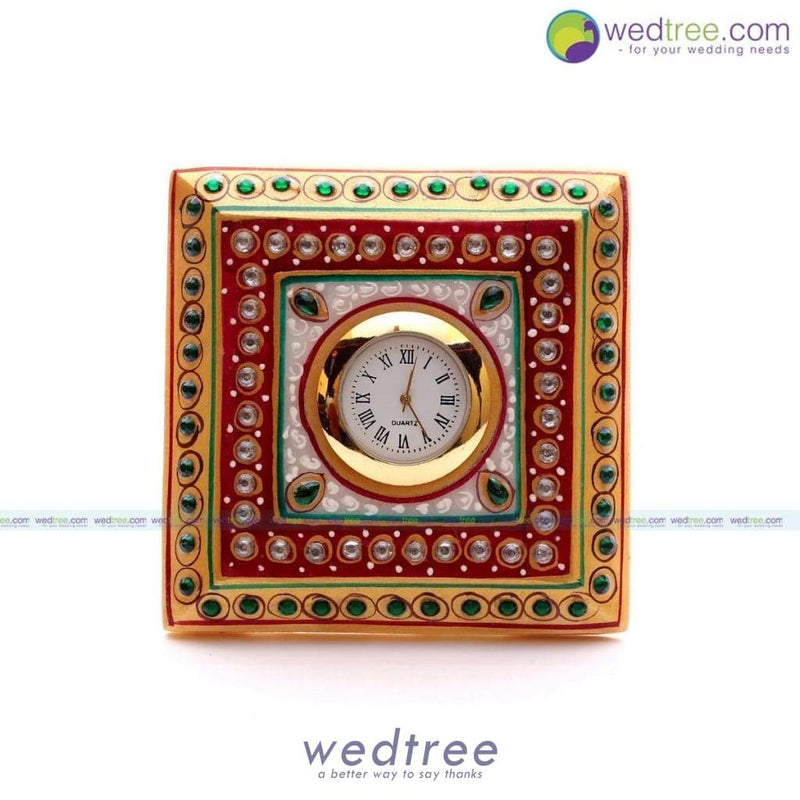 Marble Square Clock With Stone Work Utility Return Gifts