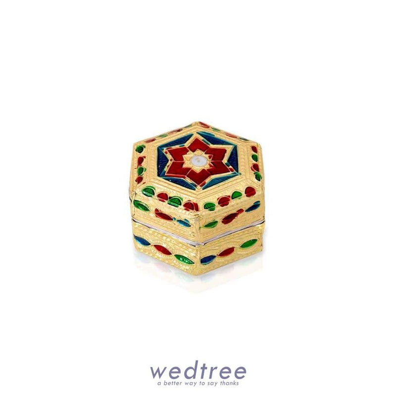 Minakari Akshadai-Kumkum Box Hexagon Shaped - W2768 Kum Holders