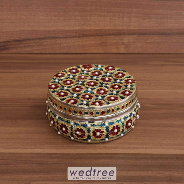 Minakari Dabba With Stone Work 5 Inch - W3683 Utensils