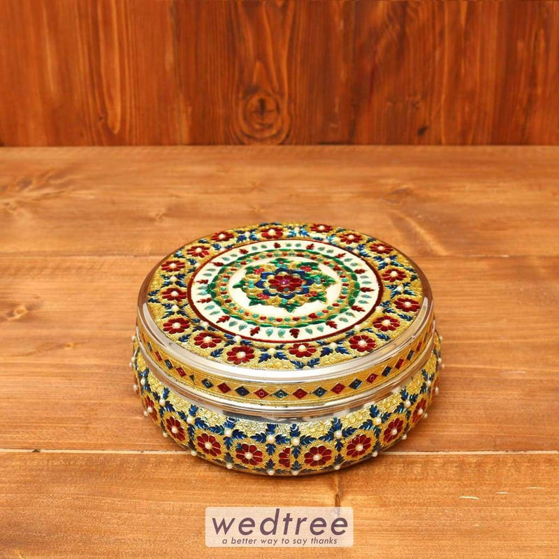 Minakari Dabba With Stone Work - W3637 Utensils