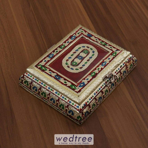 Minakari Dry Fruit Box Rectangle Shaped Small - W3194 Dry Fruit Box