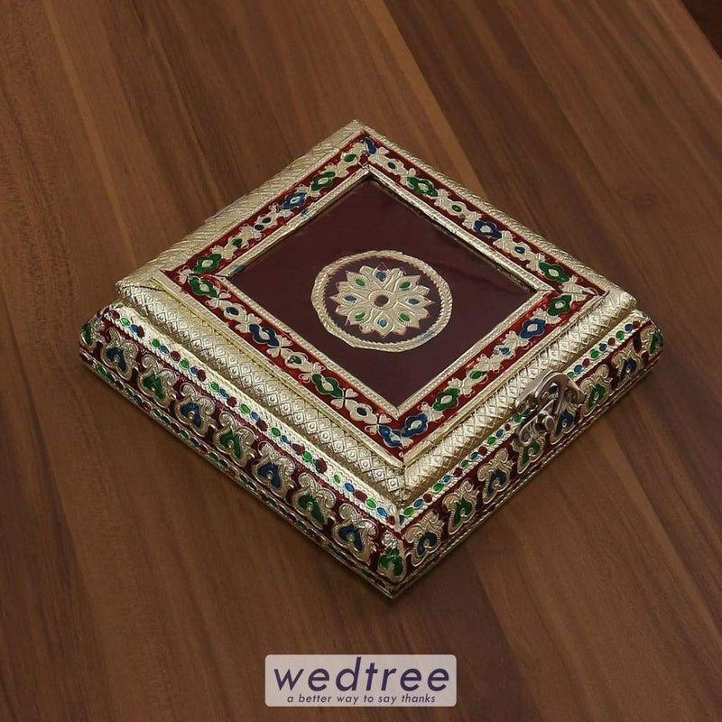 Minakari Dry Fruit Box Square Shaped Small - W3191 Dry Fruit Box