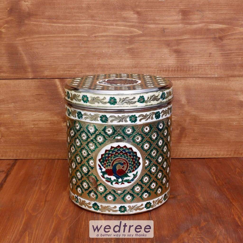 Minakari Peacock Design Dabba Set Of 6 Green Colour - W3990 Wedding Essentials