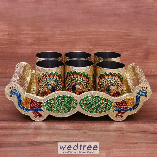 Minakari Peacock Tray Set With 6 Glass Utility Return Gifts