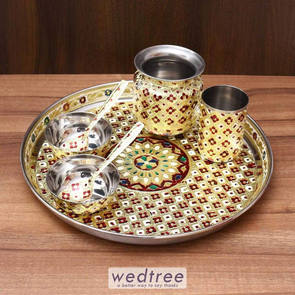 Minakari - Stainless Steel Thali Set Wedding Essentials