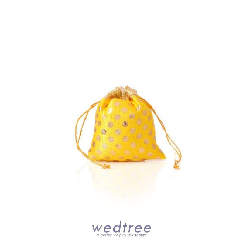 Mini String Pouch Satin With Golden Dots Potli Bags