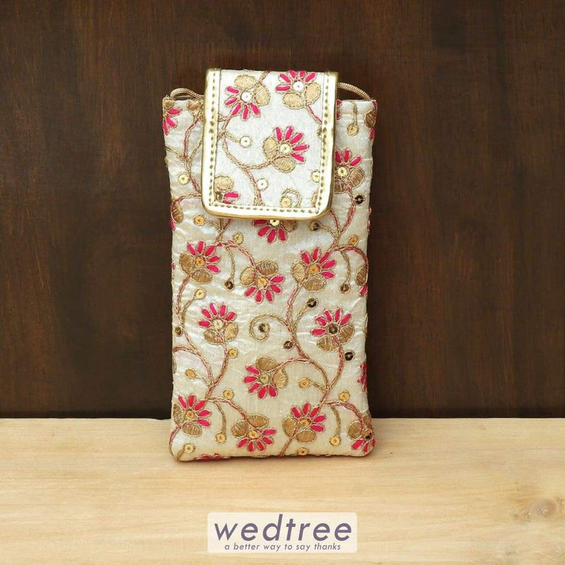Mobile Pouch Floral Embroidery With Flap - W4441 Pouches