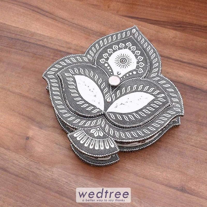Oxidised Dry Fruit Box - Leaf Design-W2952 Fruit Box