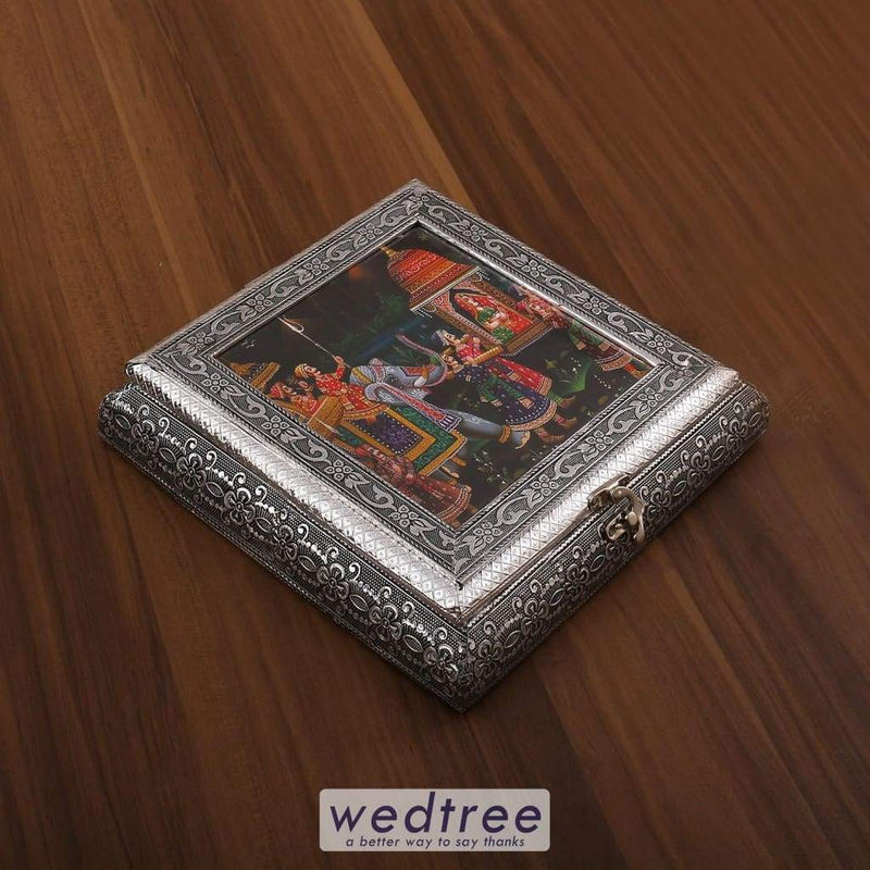 Oxidised Photo Box Square Shaped Medium - W3199 Dry Fruit Box