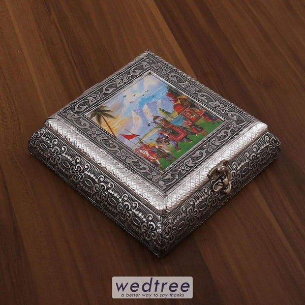 Oxidised Photo Box Square Shaped Small - W3198 Dry Fruit Box