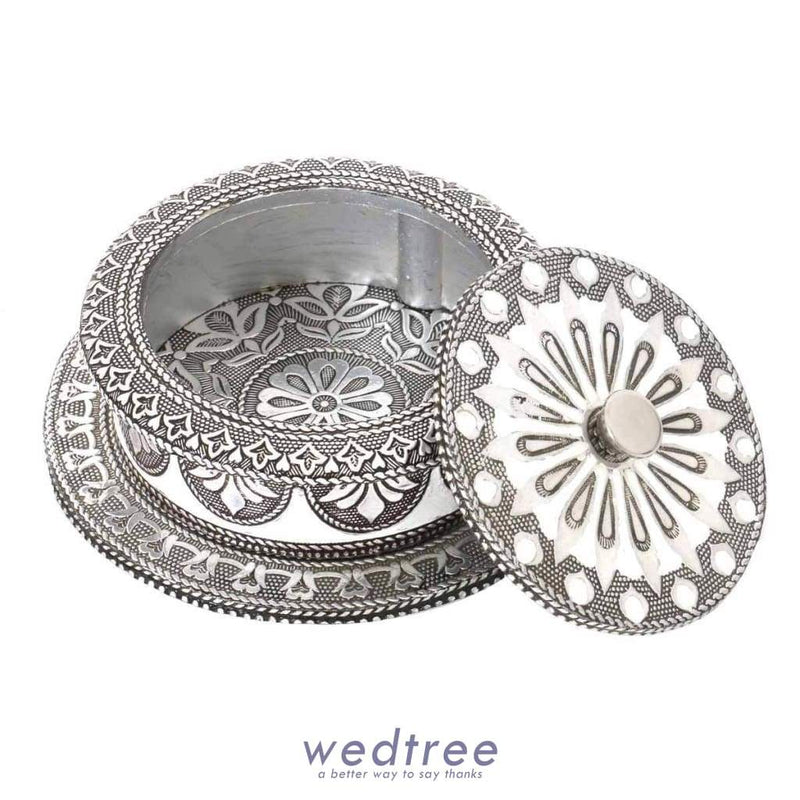 Oxidised Trinket Box - 5.5 Inch-W2955 Utility Return Gifts