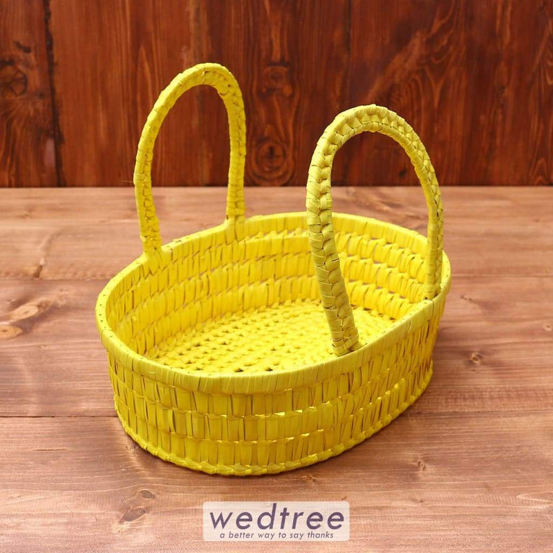 Palm Leaf Basket Oval With Handle Return Gifts