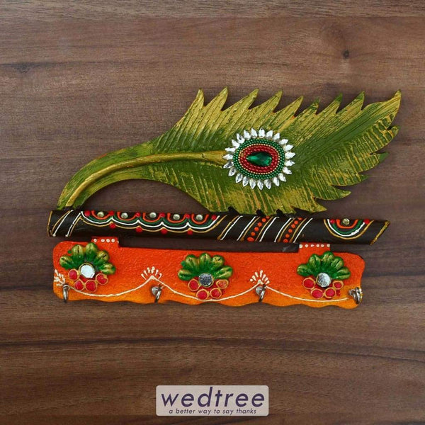 Paper Mache Key Hanger With Peacock Feather & Flute - 9 Inch Hangers