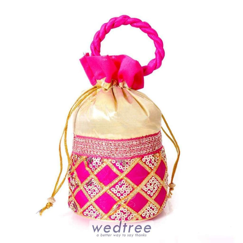 Potli Bag - Chamki Diamond Work With Thread Handle Bags