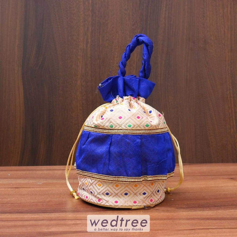 Potli Bag Colourful Dots Wih Frill - W3514 Bags