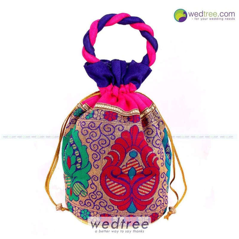 Potli Bag - Flower Design With Cloth Handle Bags