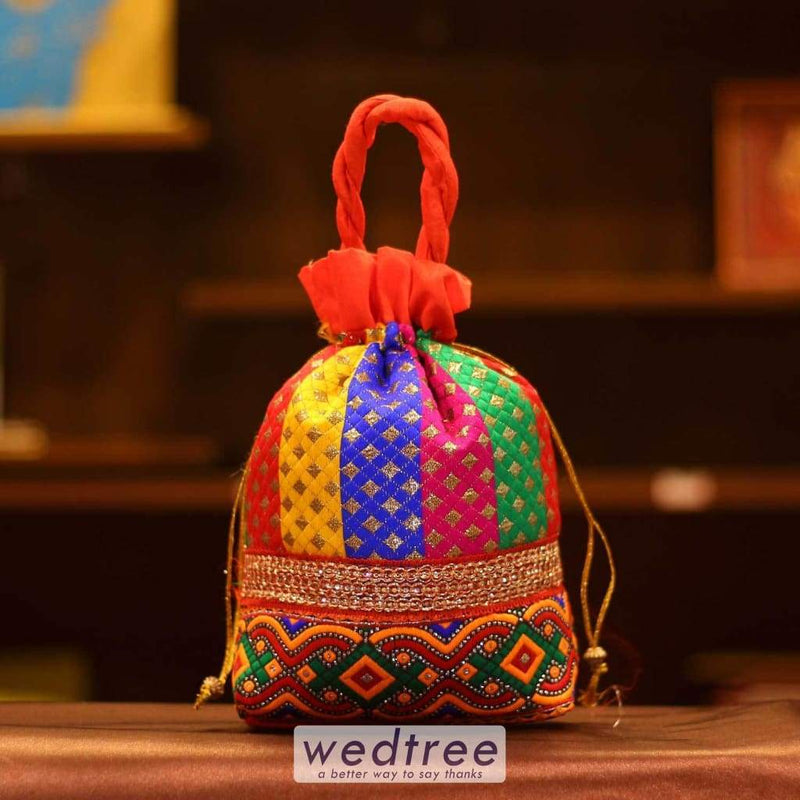 Potli Bag - Flower Thread Embroidery And Lace-W2982 Bags