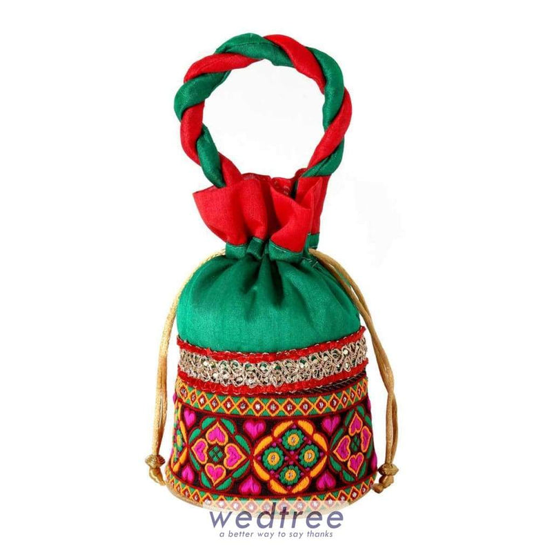 Potli Bag Flower Thread Embroidery With Golden Sequins Bags