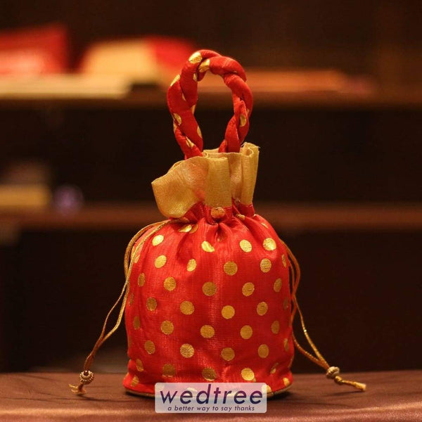 Potli Bag - Golden Dots With Gold Frill Medium Bags