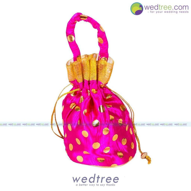 Potli Bag - Golden Dots With Gold Frill Small Bags