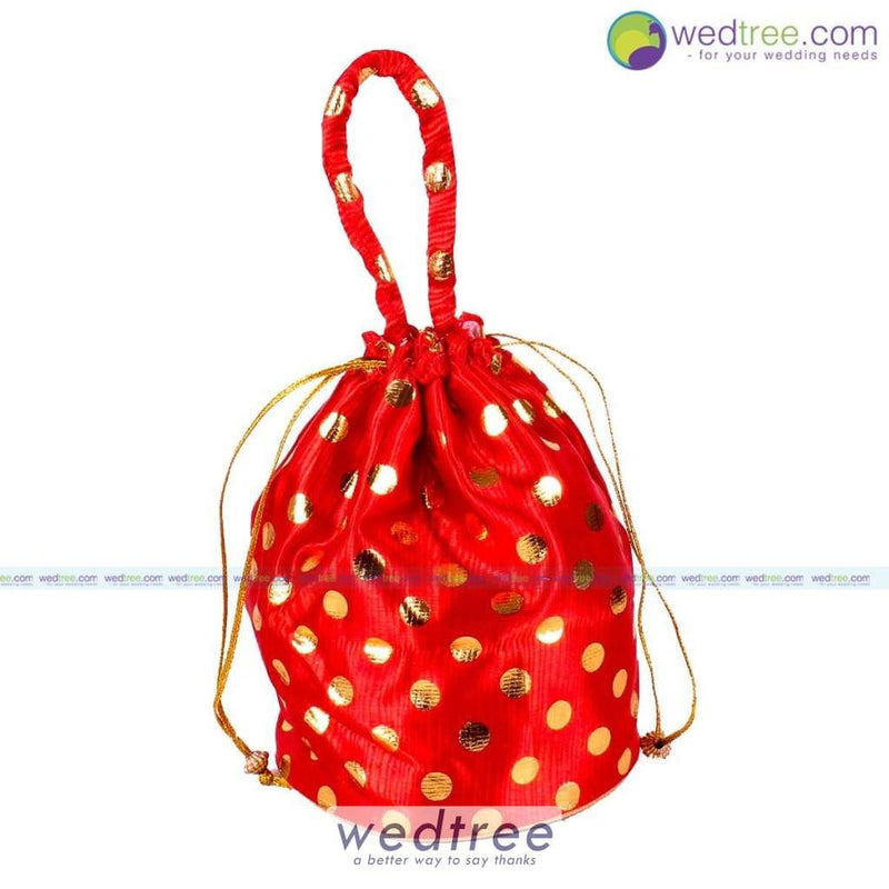 Potli Bag - Golden Dots With Round Base Bags