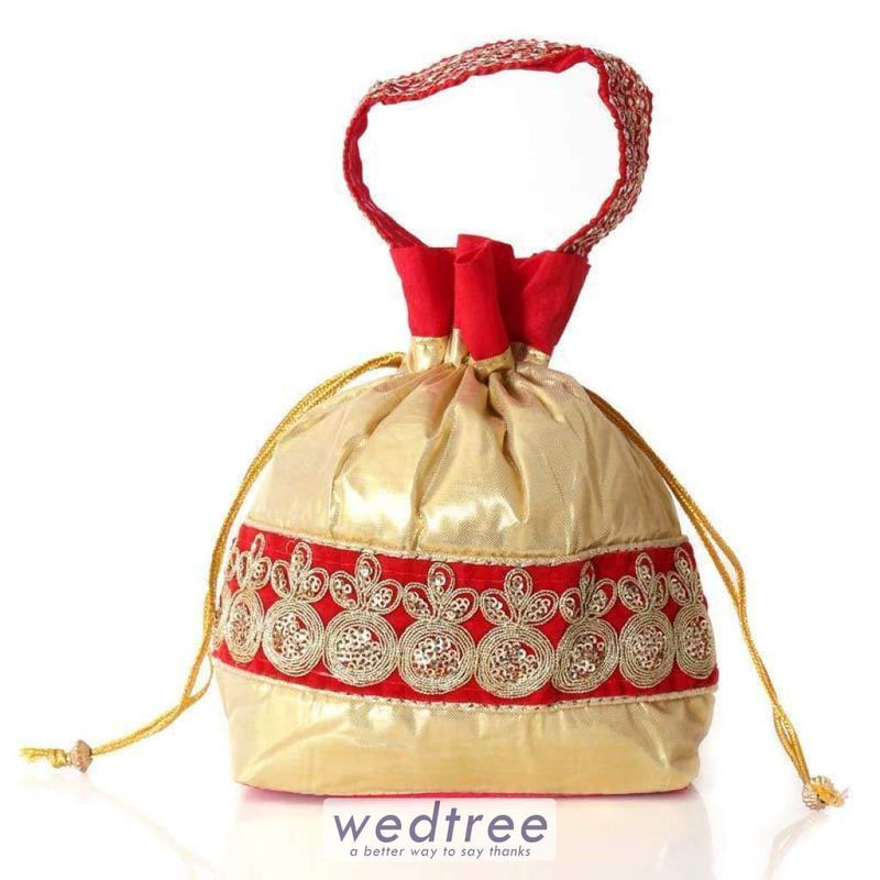 Potli Bag - Golden Satin With Embroidery Work Bags