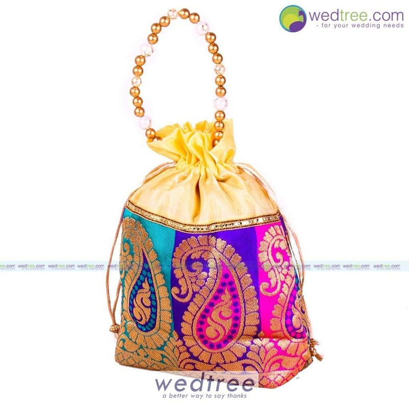 Potli Bag - Mango Design With Beaded Handle Bags