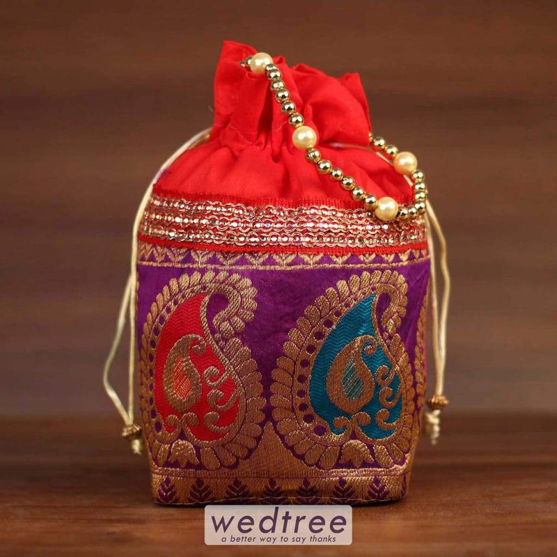Potli Bag Mango Design With Beaded Handle - Square Base Bags