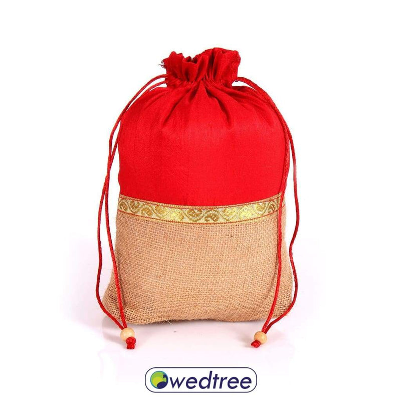 Potli Bag Raw Silk And Jute With Zari Bags