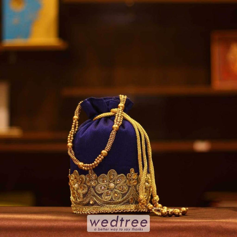 Potli Bag Raw Silk With Golden Flower Lace And Beaded Handle Bags