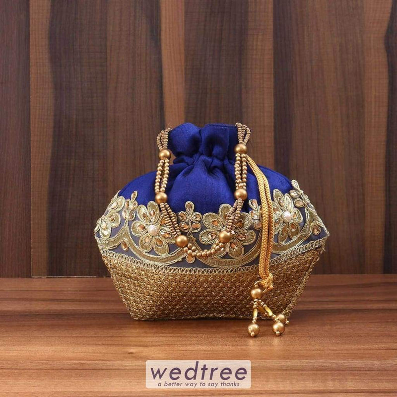 Potli Bag Raw Silk With Golden Zari And Thread Embroidery Bags