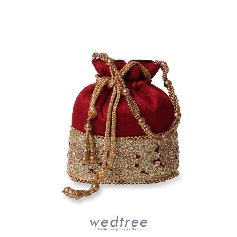 Potli Bag Raw Silk With Rich Golden Flower And Beads Bags