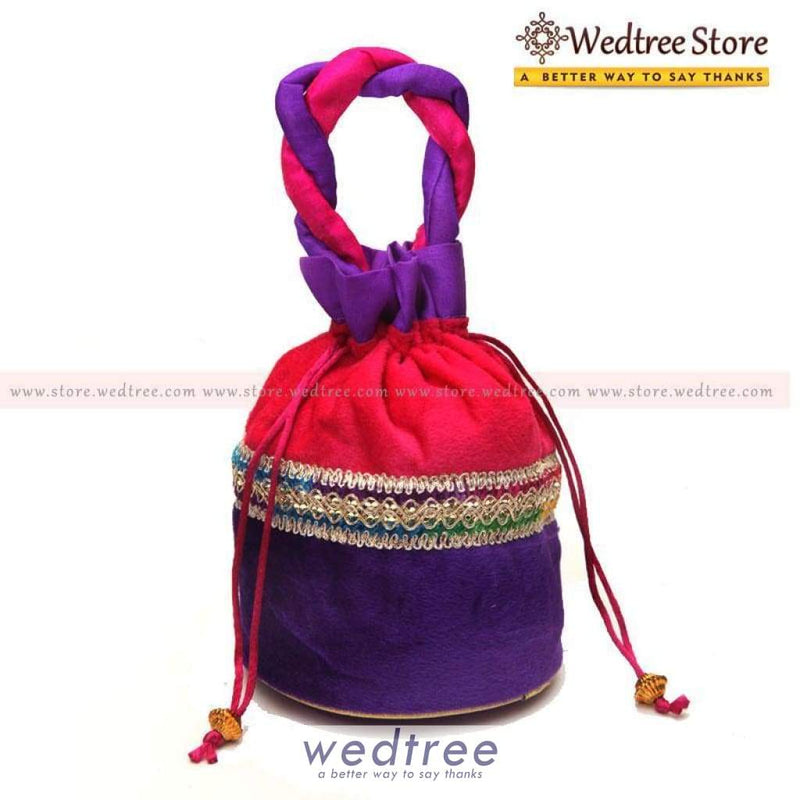 Potli Bag - Velvette With Lace Work Bags