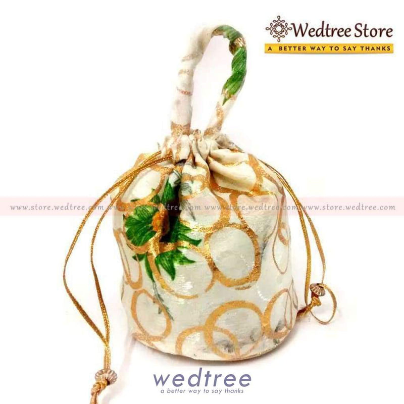 Potli Bag - White With Golden Flower Print Small Bags