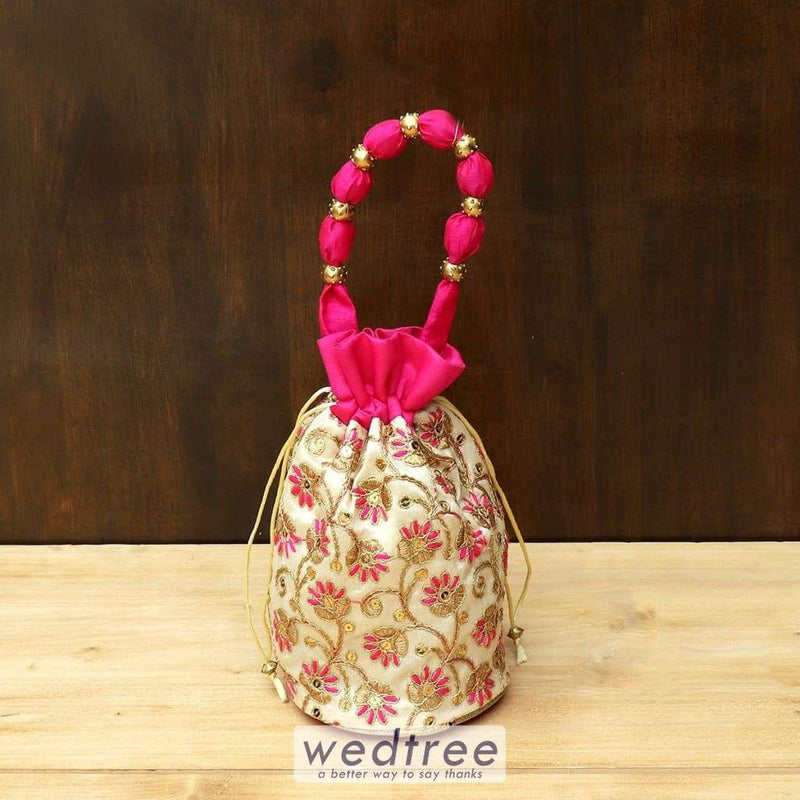 Potli Bag With Designer Embroidery Work - W4431 Bags