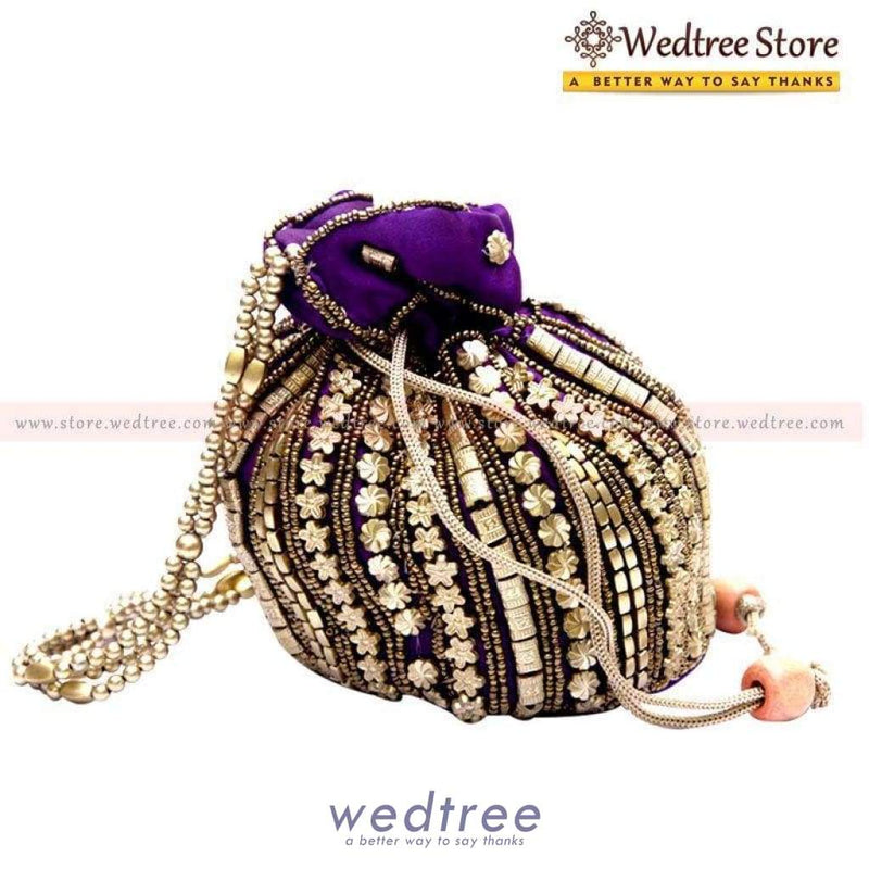 Potli Bag - With Gold Beads And Handle Bags