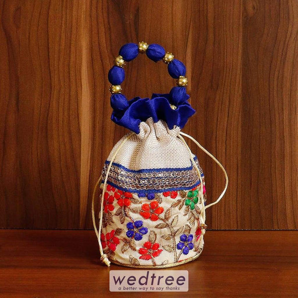 Potli Bag With Multi Coloured Floral Embroidery - W4539 Bags