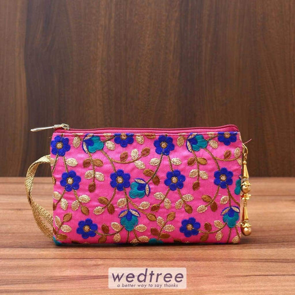 Purse With Colourful Thread Embroidery Work - W3504 Clutches & Purses