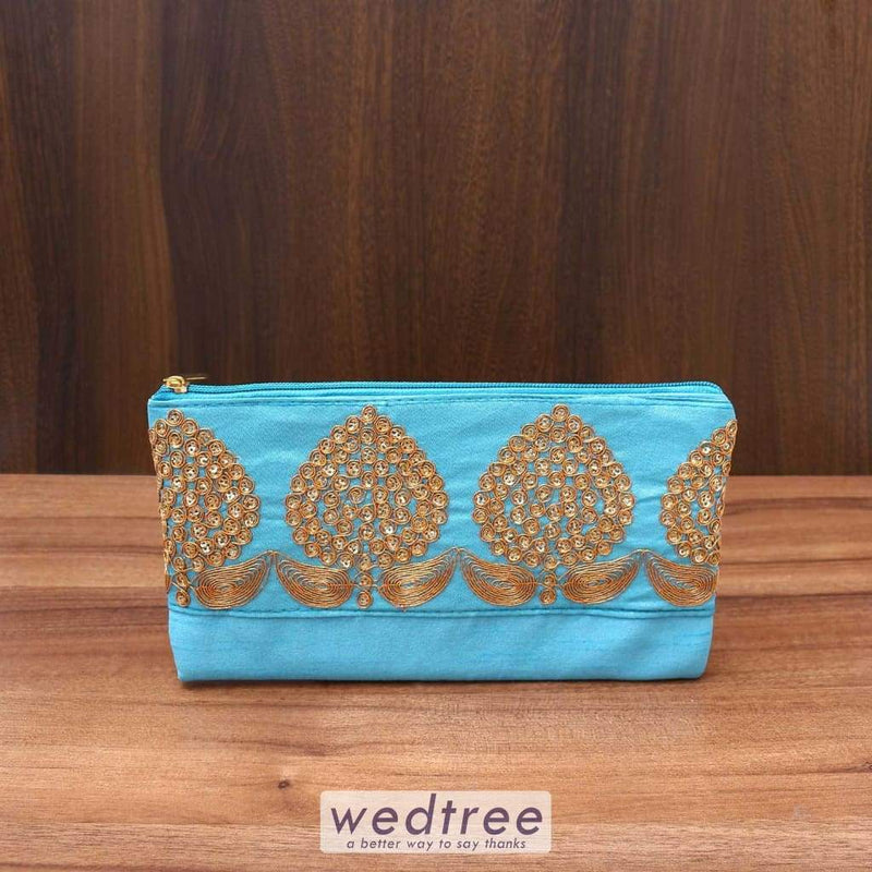 Purse With Golden Flower Thread Embroidery - W3540 Clutches & Purses