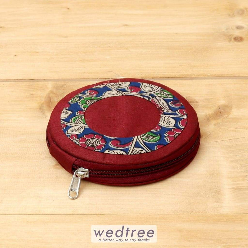 Raw Silk And Kalamkari Circle Earring Box - W4405 Jewellery Holder