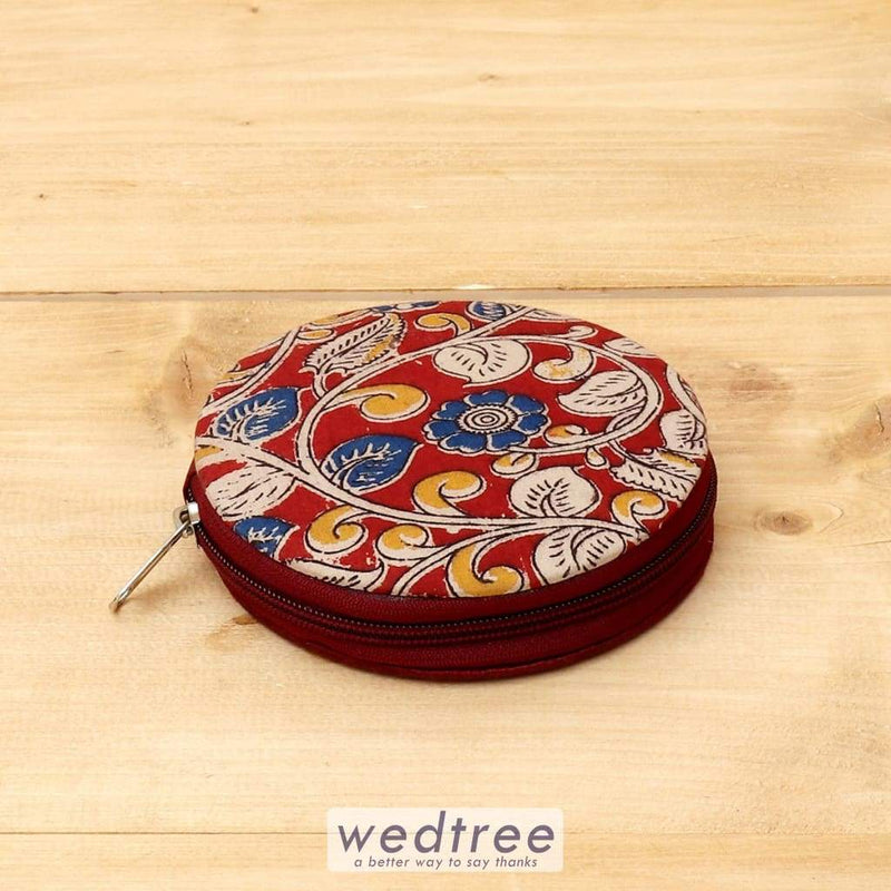 Raw Silk And Kalamkari Trinket Zipper Box - W4403 Jewellery Holder